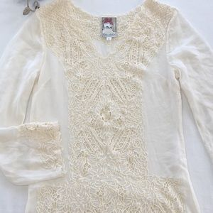 Yoana Baraschi long sleeve silk embroidered dress